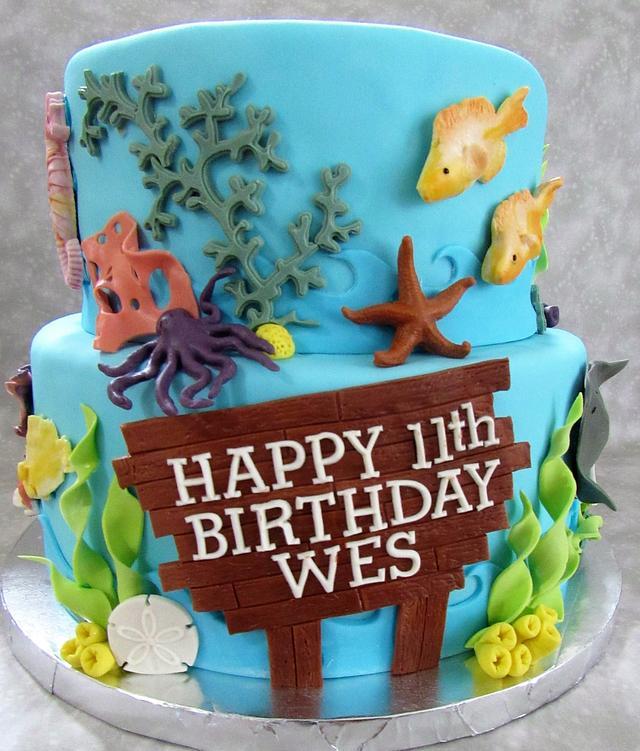 Enjoyable Ocean Themed Birthday Cake Cake By Susan Russell Cakesdecor Funny Birthday Cards Online Inifodamsfinfo