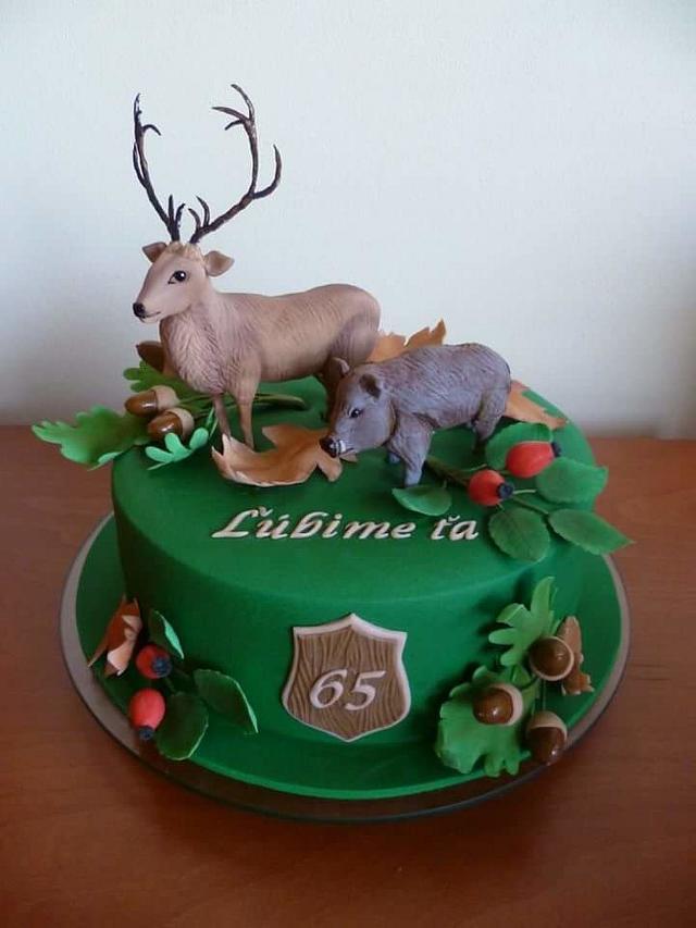 Deer and boar birthday cake