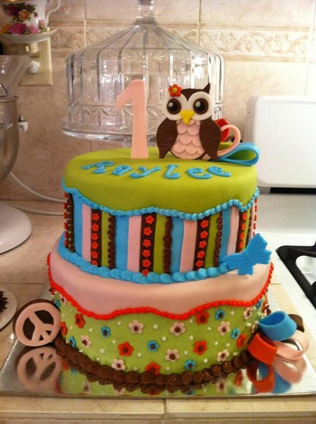 1st birthday owl cake