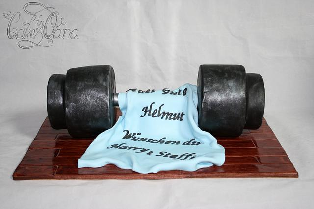 Old barbell cake