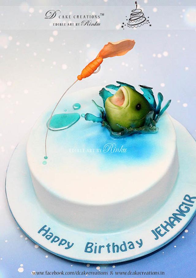I Love Fishing Cake