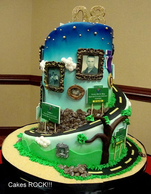"""Road of Life"" 80th Birthday Cake"