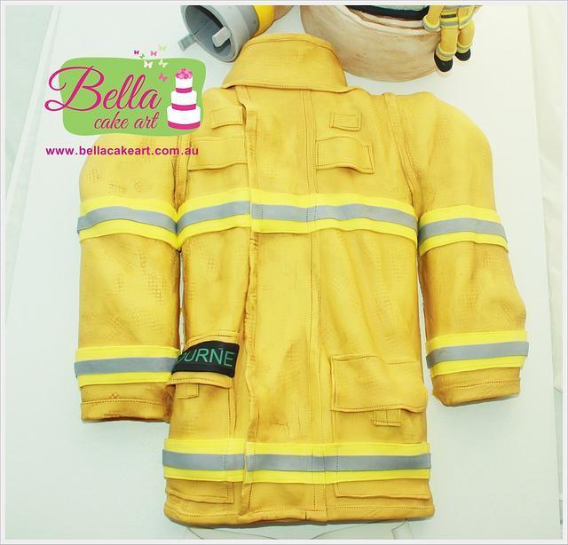 Firefighter CFA Turnout Jacket, helmet and fire hose