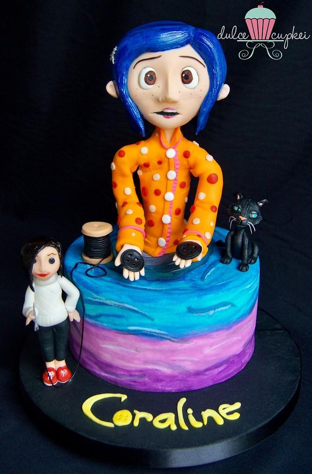 Super Cakeflix Collaboration Coraline Cake By Nadia Maciel Cakesdecor Funny Birthday Cards Online Inifodamsfinfo