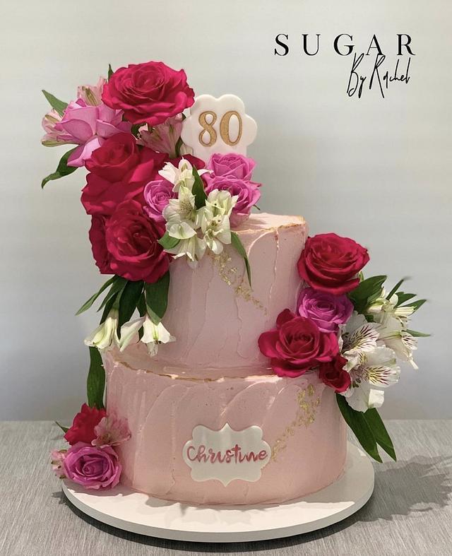 80th Floral Birthday Cake