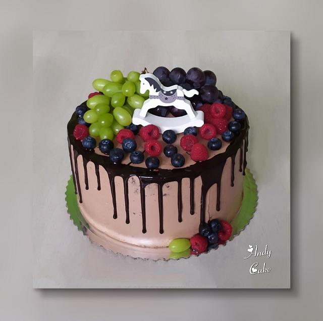 Tremendous Chocolate Birthday Cake With Fruits Cake By Andycake Cakesdecor Funny Birthday Cards Online Overcheapnameinfo