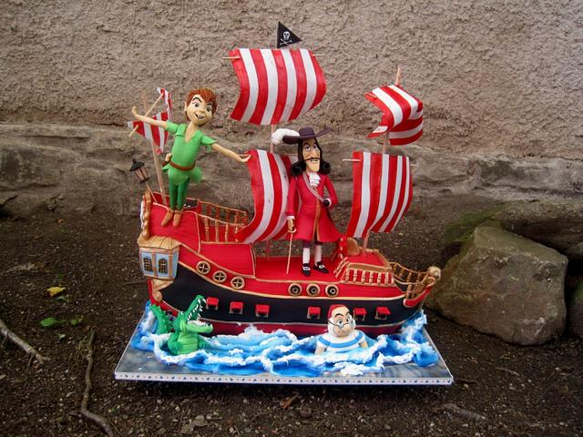 Enjoyable Peter Pan Captain Hook And His 3D Jolly Roger Cake By Cakesdecor Personalised Birthday Cards Arneslily Jamesorg