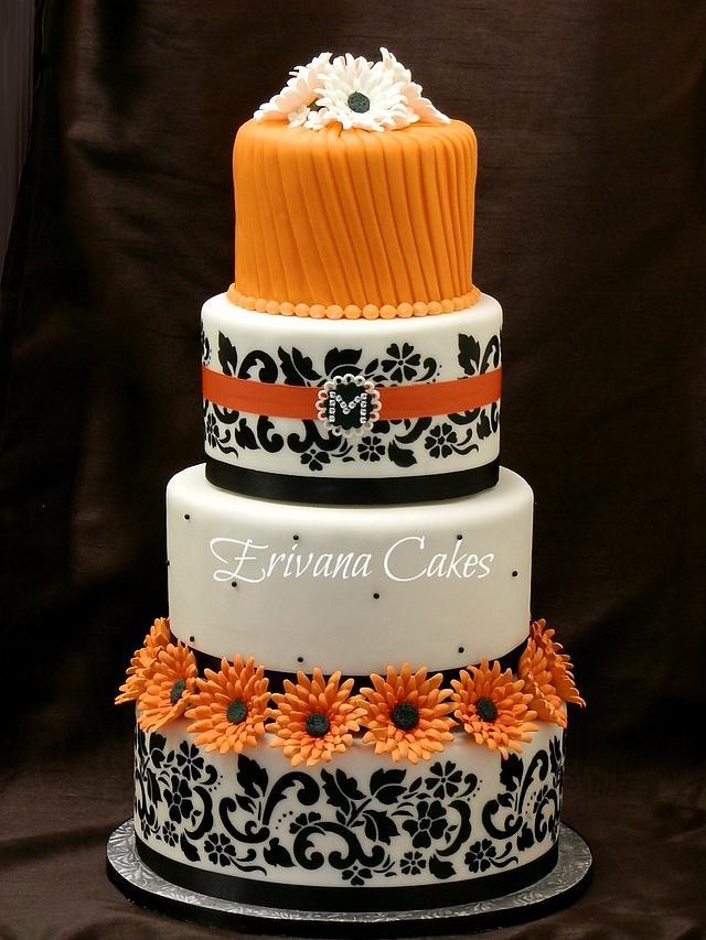 Orange and Black damask wedding cake