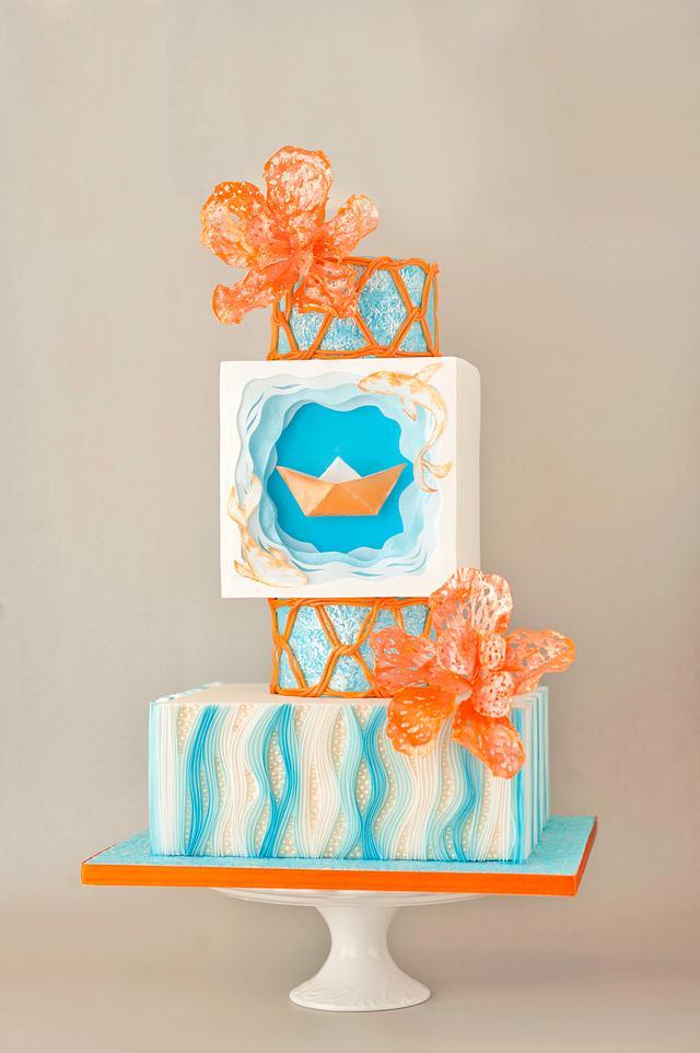 Origami Boat wedding cake