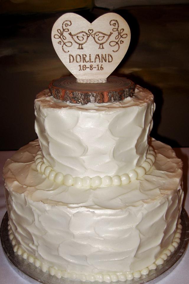 Buttercream rustic pattern wedding cake