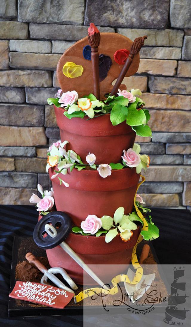 Flower Pots Custom 3d Cake | A Little Cake