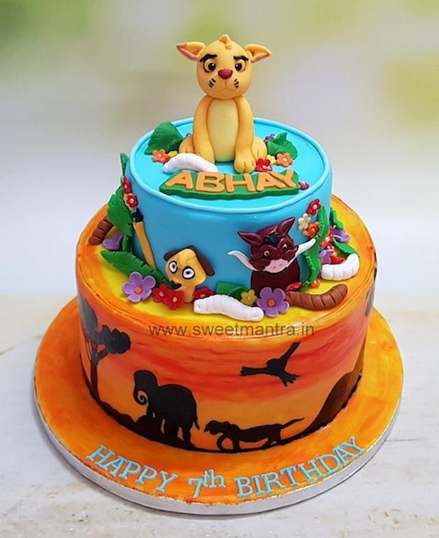 Wondrous Lion King Theme Customised 2 Tier Designer Fondant Cake Cakesdecor Funny Birthday Cards Online Necthendildamsfinfo