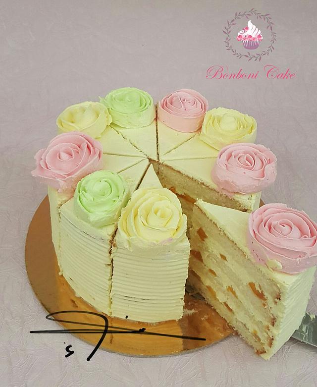 Pink and yellow Mango cake