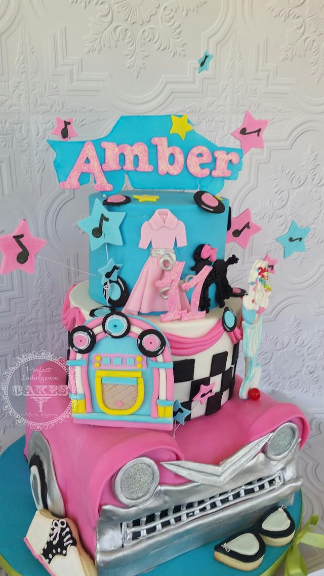 Pleasing 50S Retro Theme Birthday Cake Cake By Maria Cazarez Cakesdecor Funny Birthday Cards Online Necthendildamsfinfo