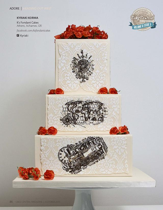''Heading Out West'' Wedding Cake