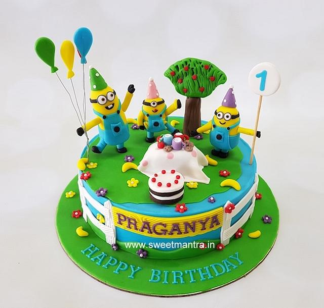 Peachy 3D Minions Playing In A Park Theme 1St Birthday Cake Cakesdecor Birthday Cards Printable Trancafe Filternl