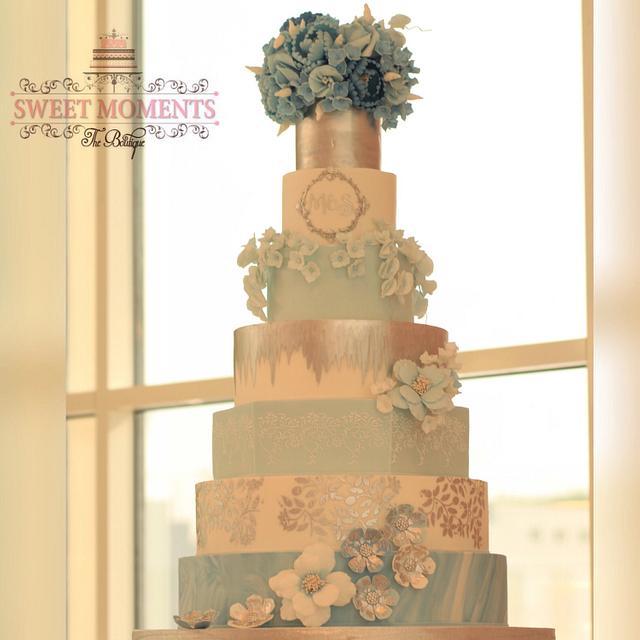 Blue Sealed Love Wedding Cake