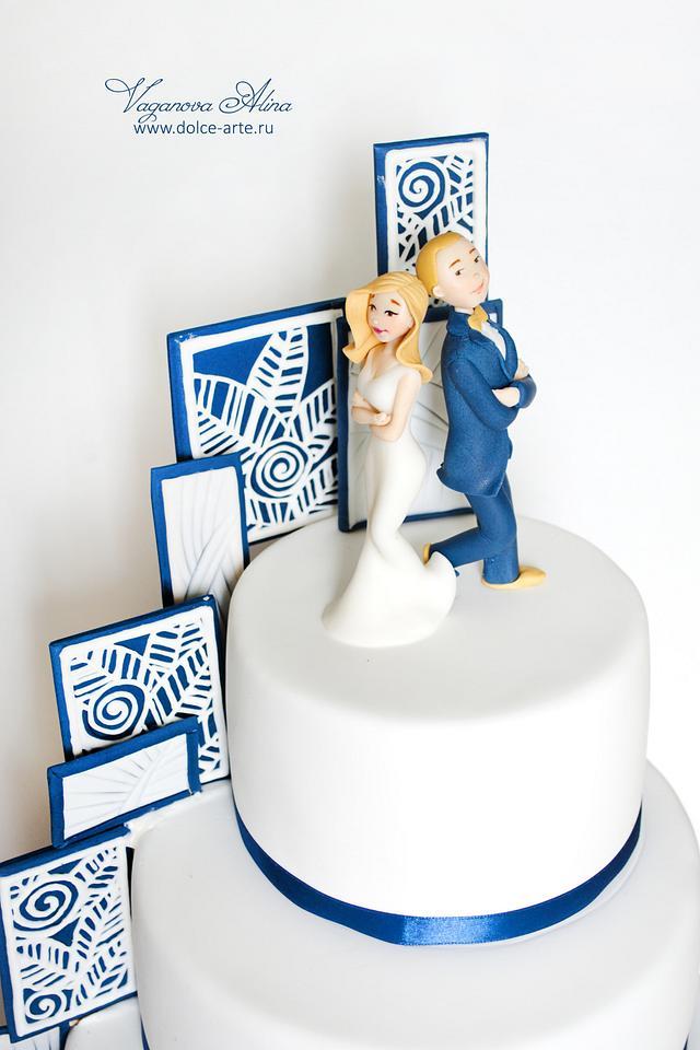 Mr. and Mrs. Smith wedding cake
