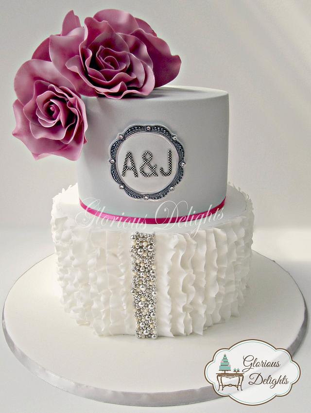 Modern ruffles 25th wedding anniversary cake.
