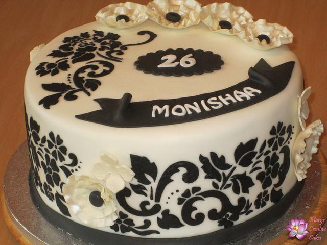 Black and White 26th Birthday Cake.