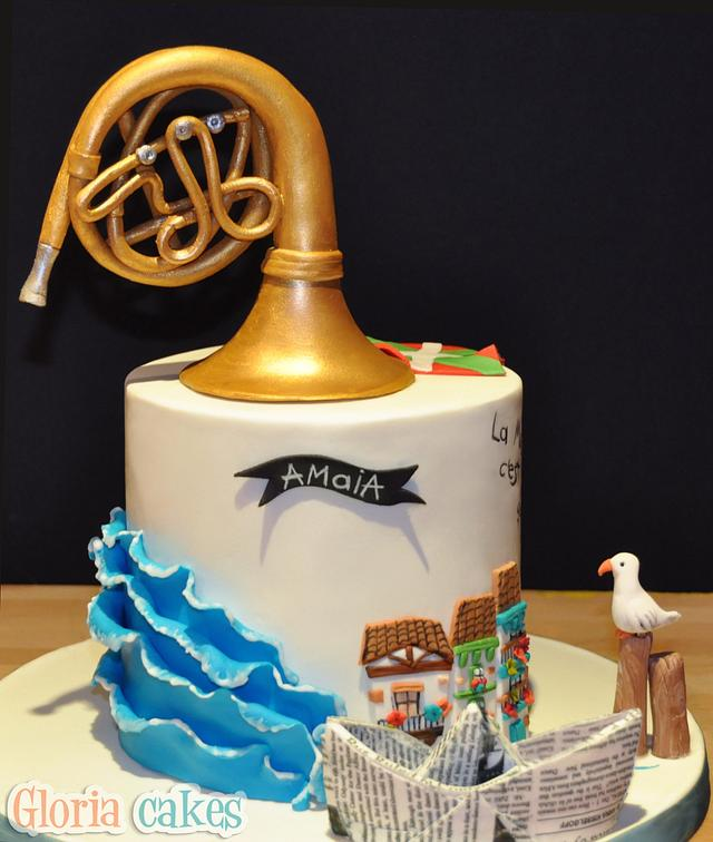 Outstanding Birthday Cake With French Horn Cake By Gloriacakes Cakesdecor Funny Birthday Cards Online Overcheapnameinfo