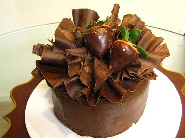 Chocolate Ruffled Birthday Cake