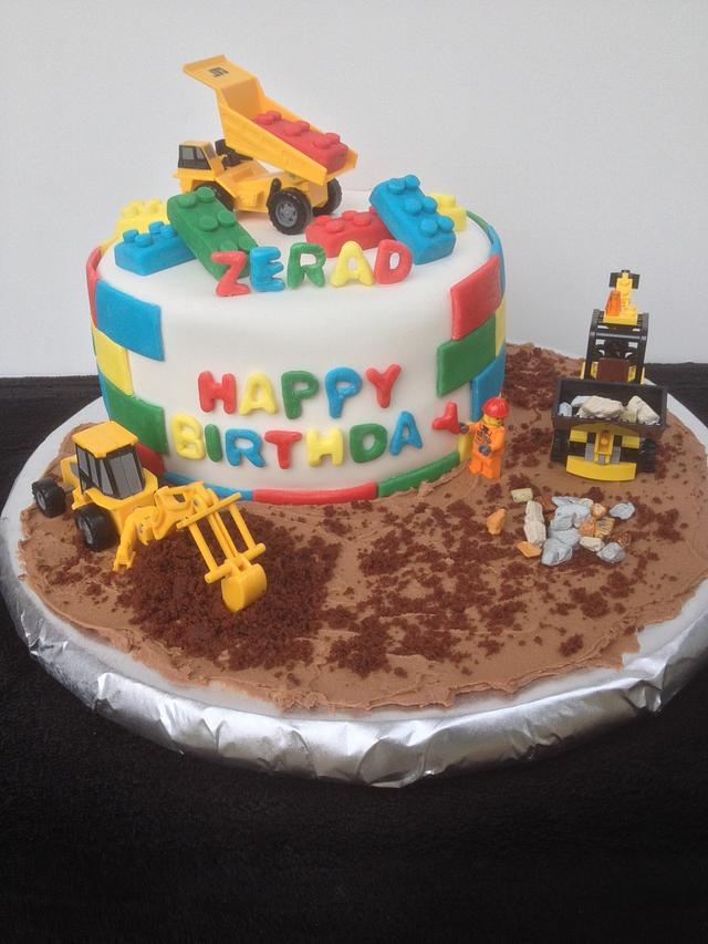 Lego construction cake