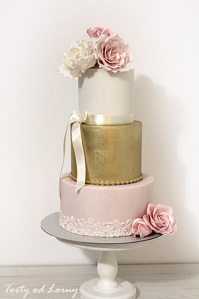 Romantic gold and pink