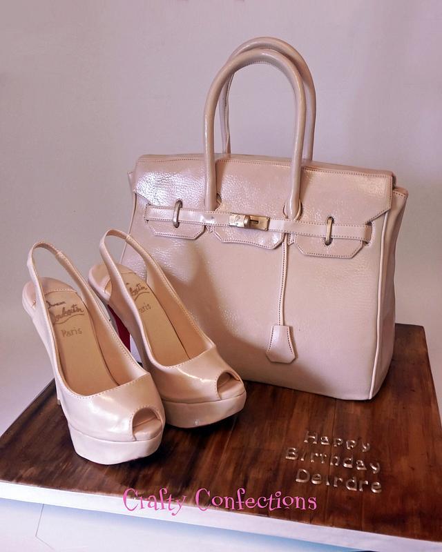 Birkin handbag cake and peeptoe slingback Louboutins