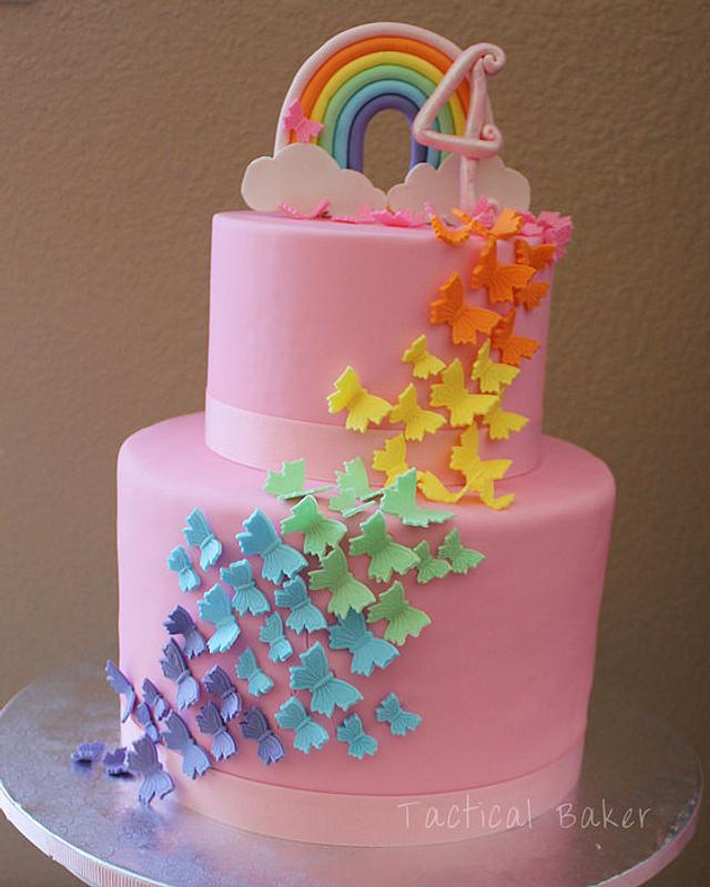 Marvelous Rainbow Butterfly Birthday Cake Cake By Cece Cakesdecor Funny Birthday Cards Online Overcheapnameinfo