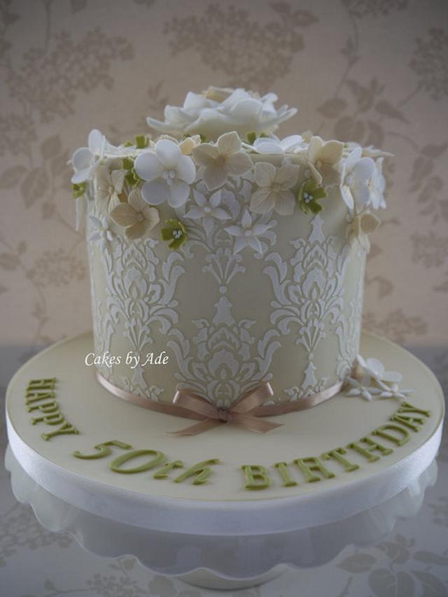 Stencil & Blooms, 50th Birthday cake - November 2011