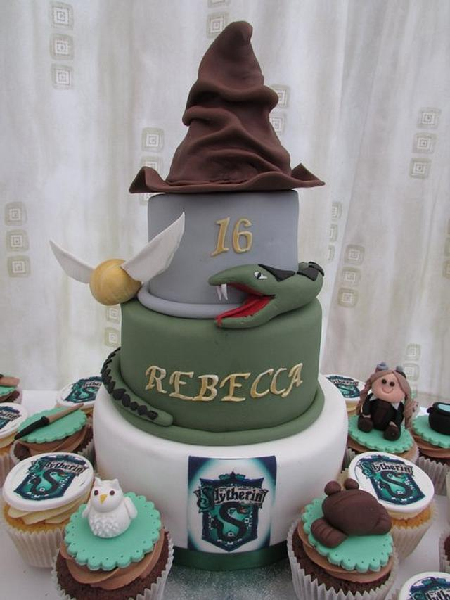 Harry potter Slytherin cake