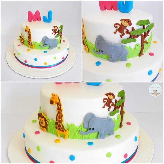 First Birthday Jungle Theme Cake