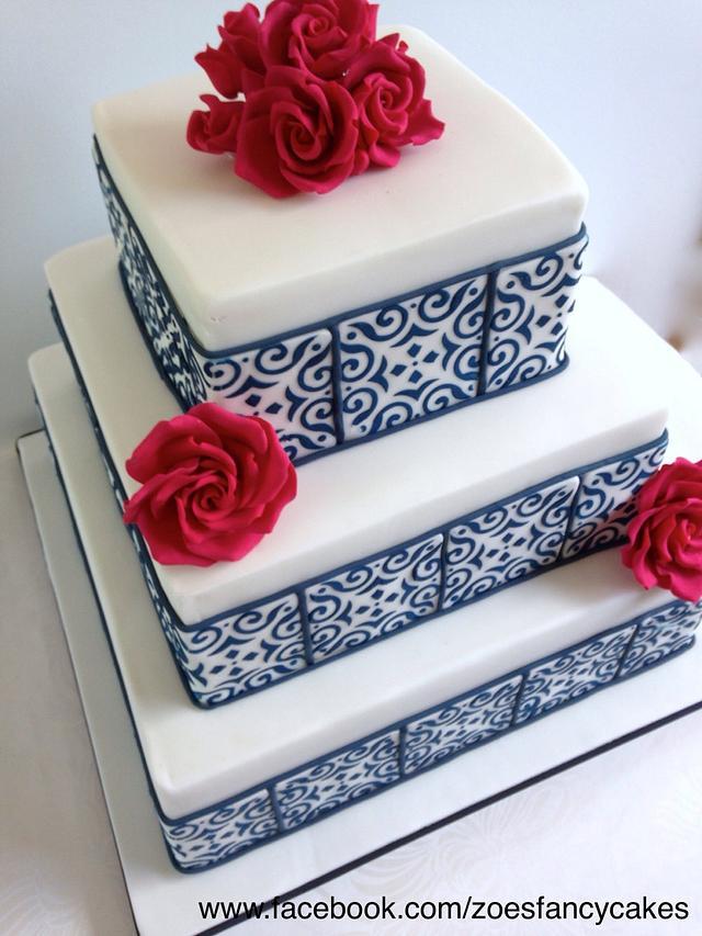 Square tiled wedding cake