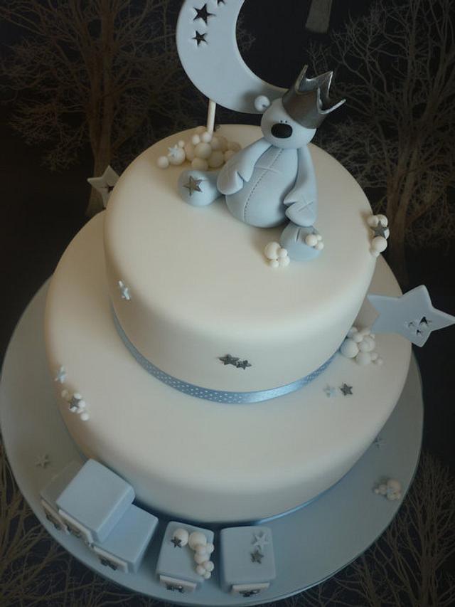 Moon & Stars Christening Cake