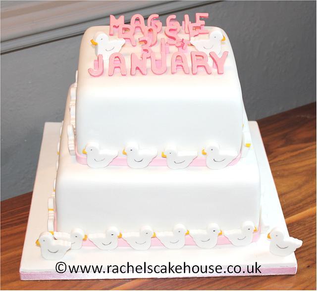 Christening cake for a baby girl