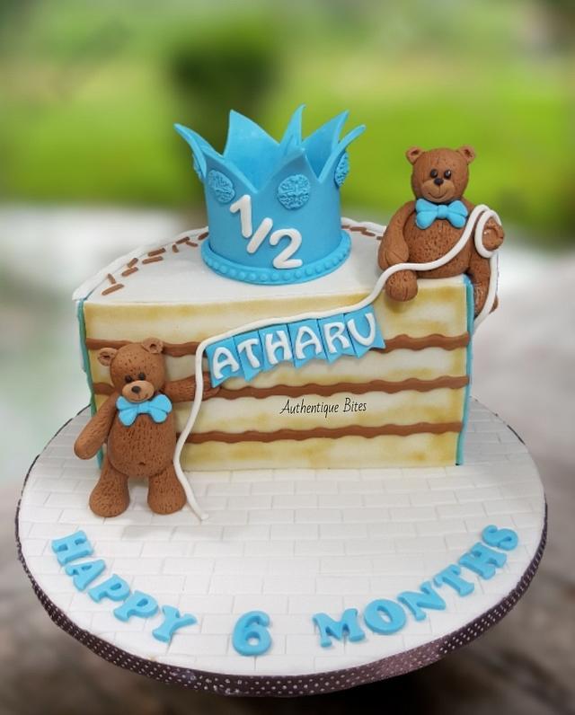 Outstanding Teddy Half Birthday Cake Cake By Authentique Bites By Cakesdecor Personalised Birthday Cards Veneteletsinfo