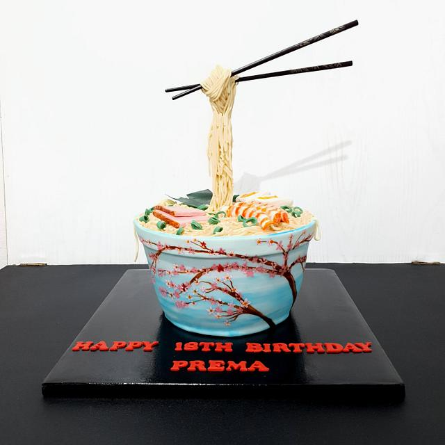 Gravity defying cherry blossom ramen bowl