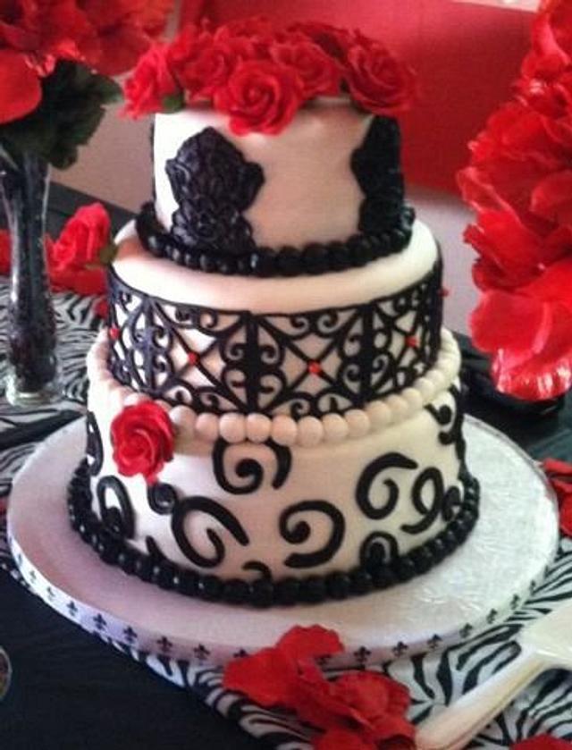 black, white , and red birthday cake