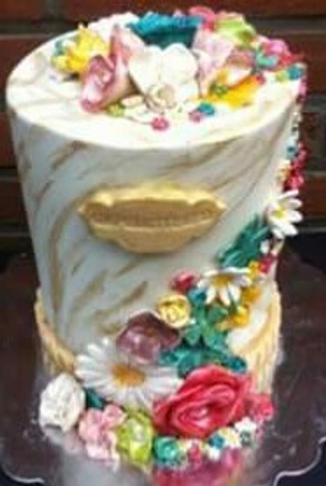 Double barrel flower cake