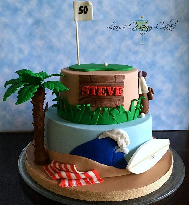 Amazing 50Th Birthday Cake For A Beach Loving Golf Loving Kind Of Cakesdecor Personalised Birthday Cards Beptaeletsinfo