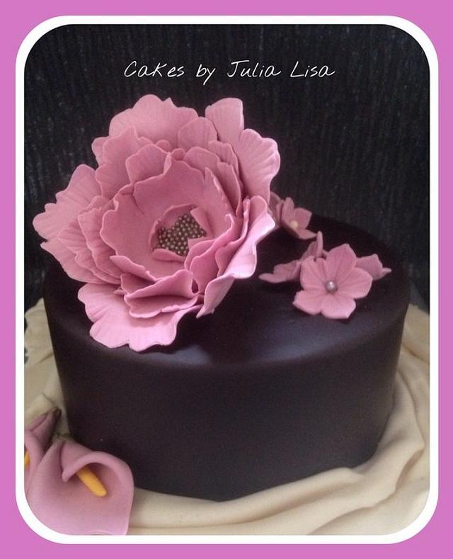 Chocolate Cake with large Peony