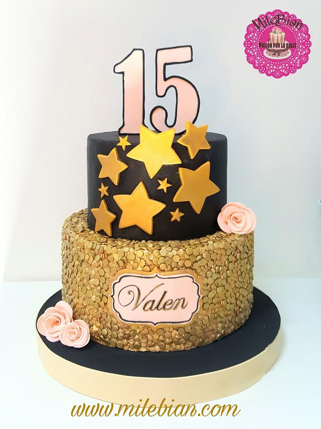 Astounding Sequins Cake For 15Th Birthday Cake By Milebian Cakesdecor Personalised Birthday Cards Paralily Jamesorg