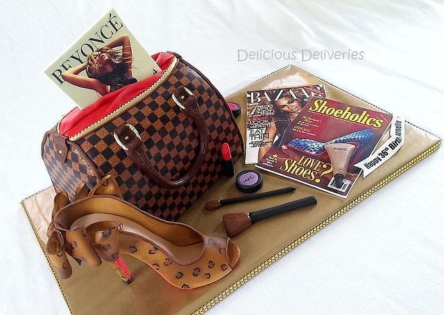 LV Damier Purse Cake with Leopard Shoe