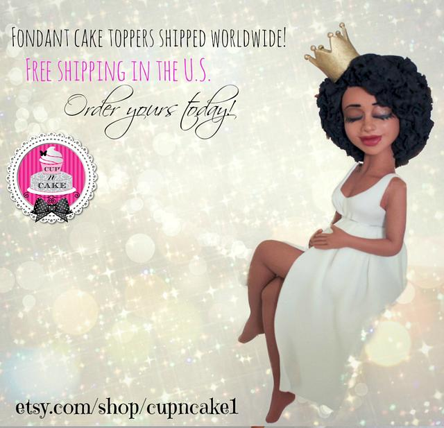 Queen mother to be fondant cake topper!