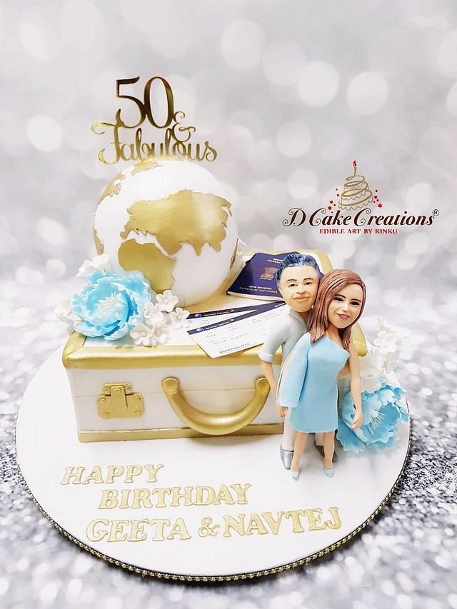 50 & Fabulous Travel Theme Cake
