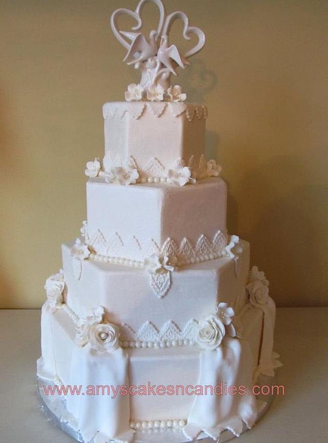 Hexagon Flowers & Drape Wedding Cake