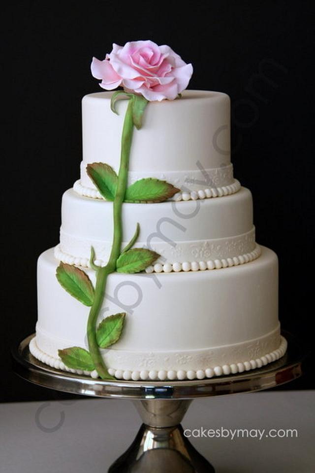 Single Rose Wedding Cake