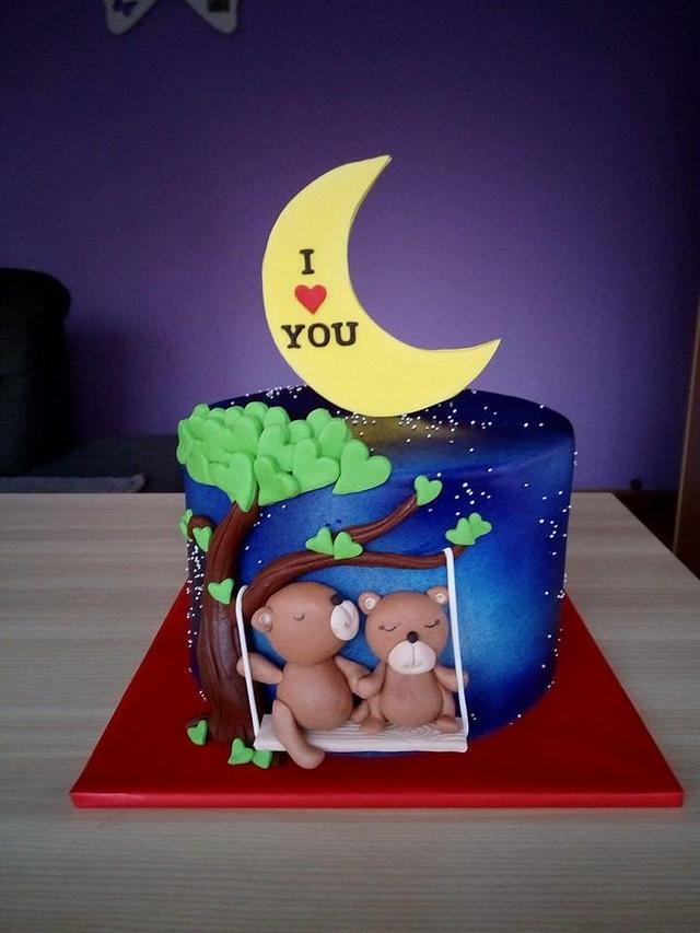 Lover bear cake