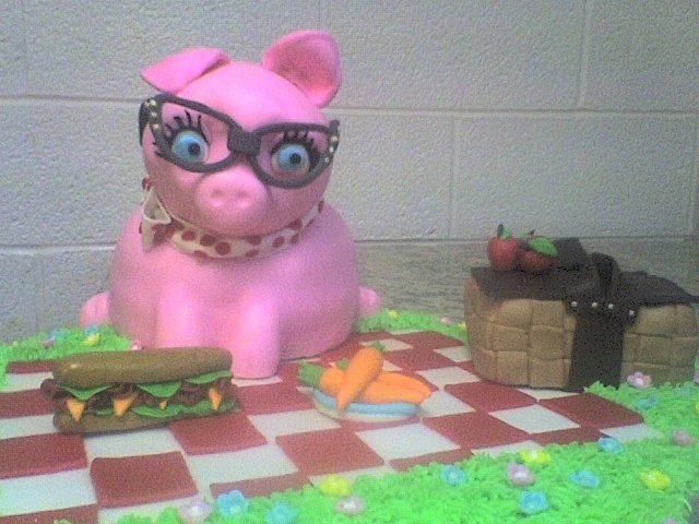 Pig at a picnic